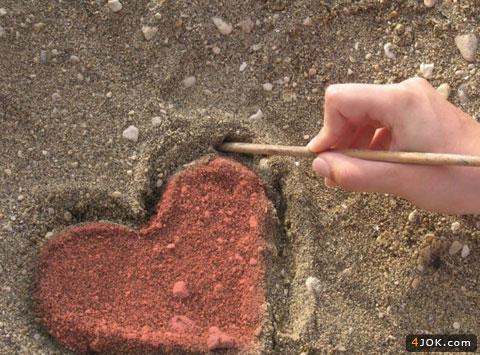 طرح قلب زیبا در خاک
